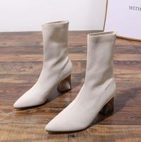 BZBFSKY/брендовые носки, женские ботинки на толстом каблуке, новая Корейская версия, тонкие ботинки на высоком каблуке, белая женская обувь