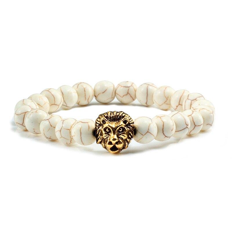Fashion Turquoises Beaded Men Bracelets Gold Sliver Lion Natural Stone Bracelet Charm Women Fitness Bangle Couple Prayer Jewelry