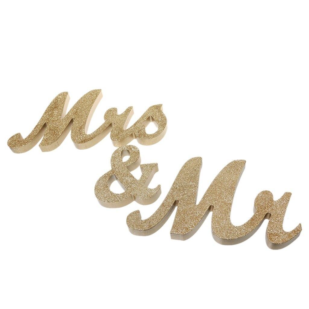 2018 модные блестящие Mr & Mrs деревянные буквы Свадебные автономный знак Украшение стола