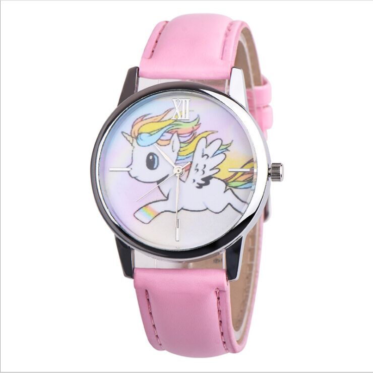 2019 New Cartoon Unicorn Animal Leather Belt Quartz Kids Students  Watches Boy Girl Children Gift Clock Relogio Feminino