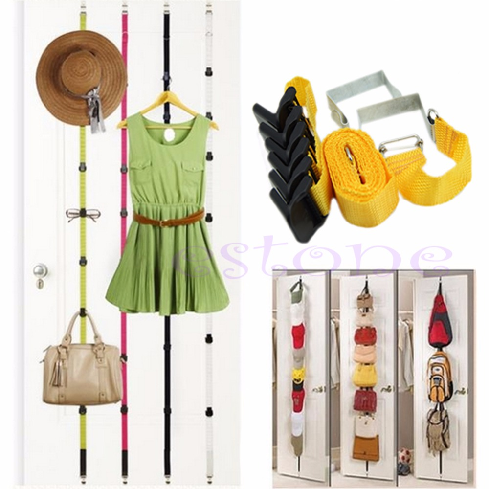 2016 Straps Hanger Adjustable Over Door Hat Bag Clothes Rack Holder Organizer 6 Hooks Free Shipping-P101