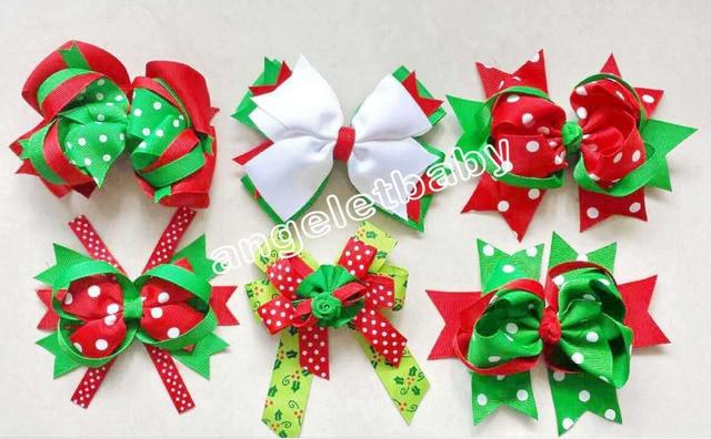 6pcs Christmas New Hair Accessories Kids Grosgrain Ribbon Boutique Xmas Bows Clip Flower Girls Headband Loopy