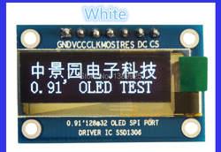 Бесплатная Доставка 10 шт./лот 0.91 дюймов SPI 128x32 Белый OLED ЖК-дисплей Дисплей DIY модуль ssd1306 Драйвер IC DC 3.3 в-5 В для ар-Дуино pic