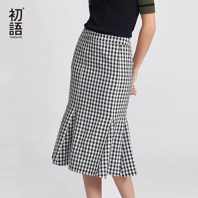 dff15ece95d0 Toyouth 2018 Summer New Arrival Women Black & White Tartan Plaid Ruffles  Casual Skirt Fashion Skirts for Women Elegant Female