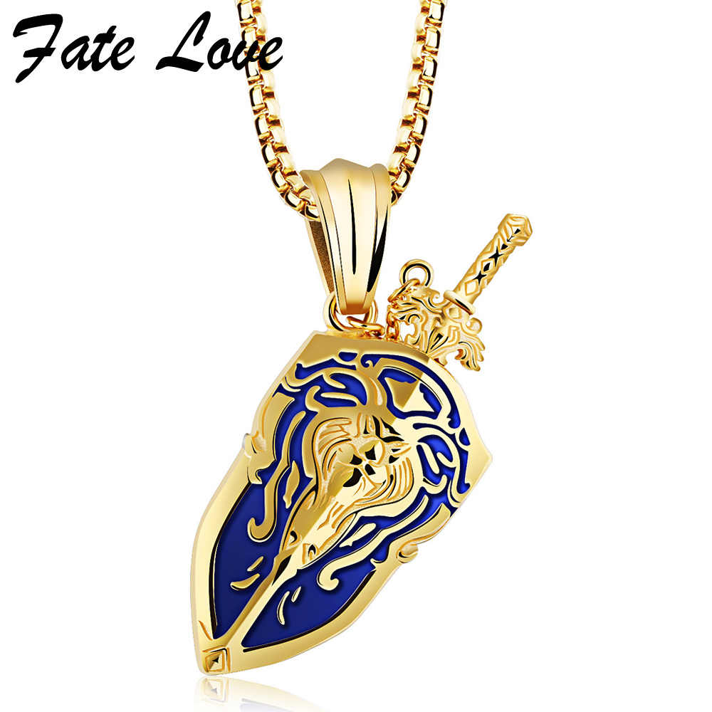 Anime Necklace Men Jewelry World Of Warcraft Vintage Accessories Shield Sword Pendant Necklaces 2017 Silver Gold Color Collier