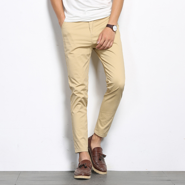 e702087e7aec Men Casual Cotton Pants Spring Summer New Fashion Slim Fit Straight Man  Trousers Plus Ankle Length