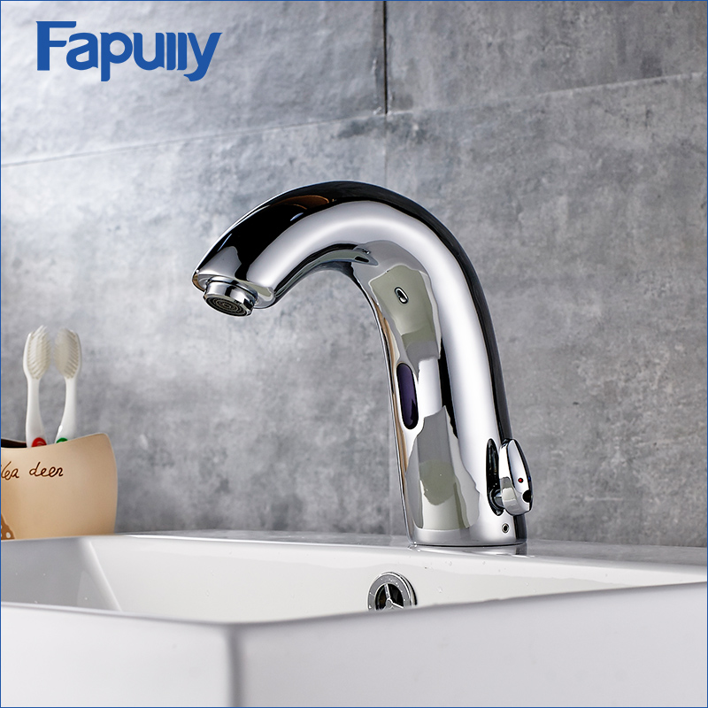 Fapully Automatic Infrared Sensor Faucets Hot And Cold Basin Faucet Bathroom Sink Basin Mixer Hands Touch Tap Chrome Water Tap msq professional 15 pcs makeup brushes set for women fashion soft face lip eyebrow shadow make up brush set kit pouch bag