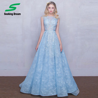 2017 New Strapless Sleeveless Lace Flower Evening Dress Prom Dress Bride Banquet Formal Party Homecoming Ball