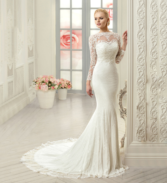b3cfe9c42a560 PW281 Romantic Sexy Satin Lace Wedding Dress Lace Appliques Boat Neck Sheer  Back Long Sleeve Mermaid Wedding Dress 2016 Gown