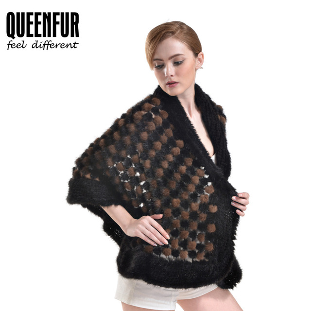 QUEENFUR Genuine Knitted Mink Fur Poncho Striped Color  2016 New Arriveal Casual Fashion Female Circle Black Fur Pashmina
