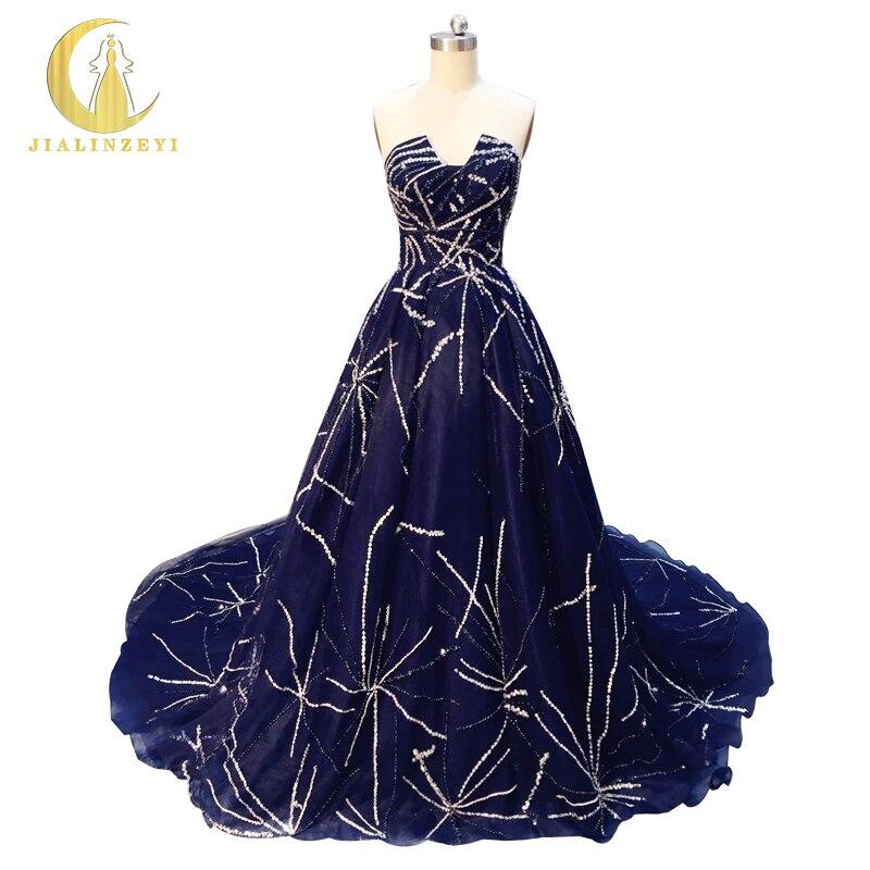 Rhin Real Sample Image Marine Bleu Chérie Perles En Cristal de Pleine Zuhair Murad Luxueux papelaria Partie de Soirée robe de noiva