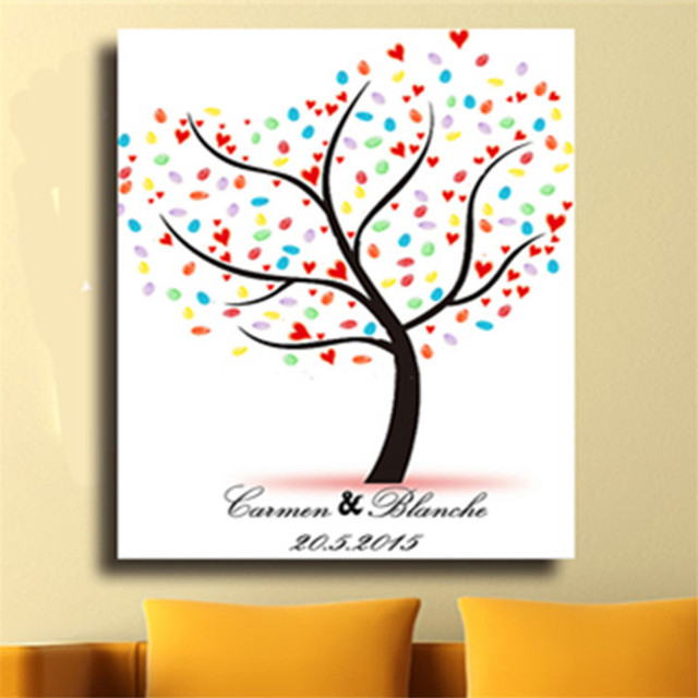 Fingerprint Tree Painting Signature Canvas Wedding Guest Book Gift Party Decor