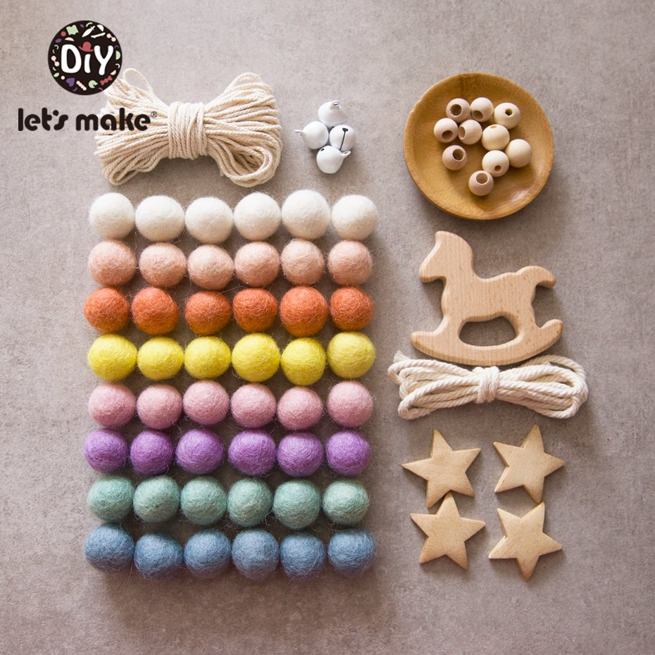 Let's Make Baby Rattles Crib Mobiles Diy Nursing Jewelry Combination Package Crochet Beads Round Geometric Baby Wooden Teether