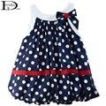 HABA Темно-синий и белые точки милый ребенок dress/бантом рукавов девочка одежда HB0066