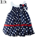 HABA Navy blue and white dots cute baby dress/bowknot sleeveless baby girl clothing HB0066