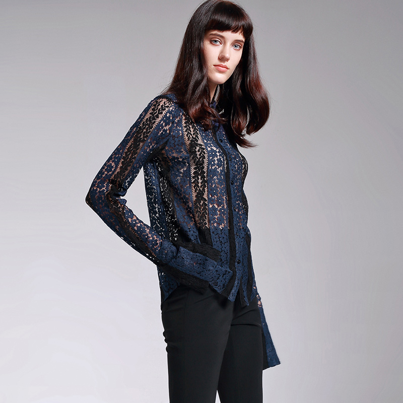 POKWAI 2017 осенние винтажные открытые кружевные рубашки женские топы высококачественная одежда однотонная блузка Топ с отложным воротником и ... - 2