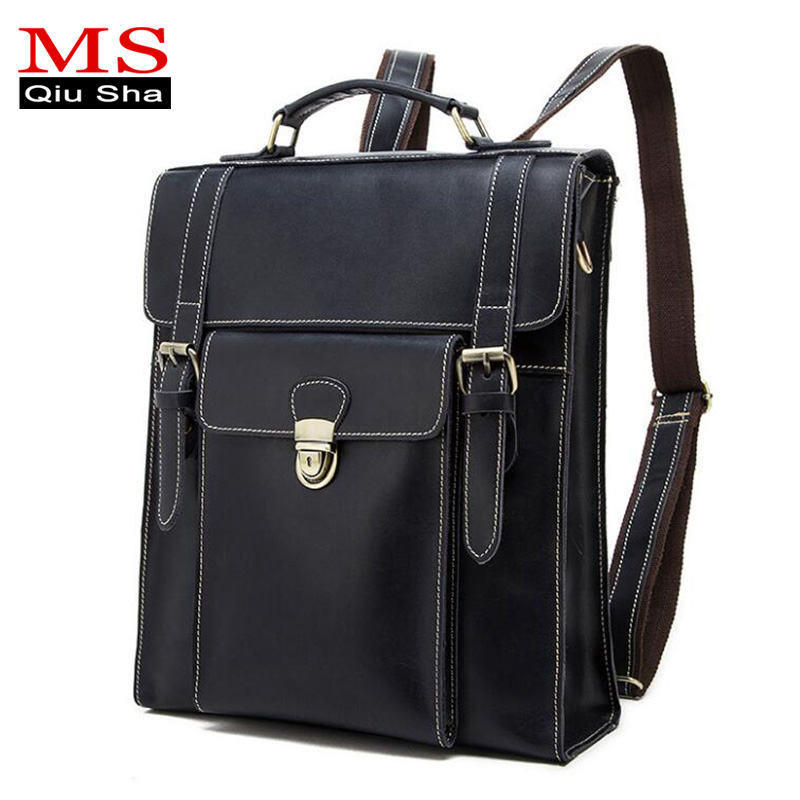MS.QIUSHA Luxury Backpack men genuine leather bag Large Capacity Vintage Crazy horse leather famous brand backpack high quality men genuine leather high capacity backpack travel bag crazy horse leather famous brand fashion 14 inch notebook bag j50