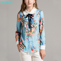 QYFCIOUFU Designer Runway Womens Plus Size Fashions Long Sleeve Blouse High Quality Blue Floral Print Ruffle Shirts And Tops