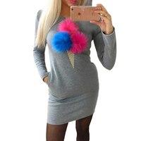 Causal Women Dresses Plush Hair Ball Sweatshirt Dress Long Sleeve Mini Dress Pullovers Vestidos LJ7499M