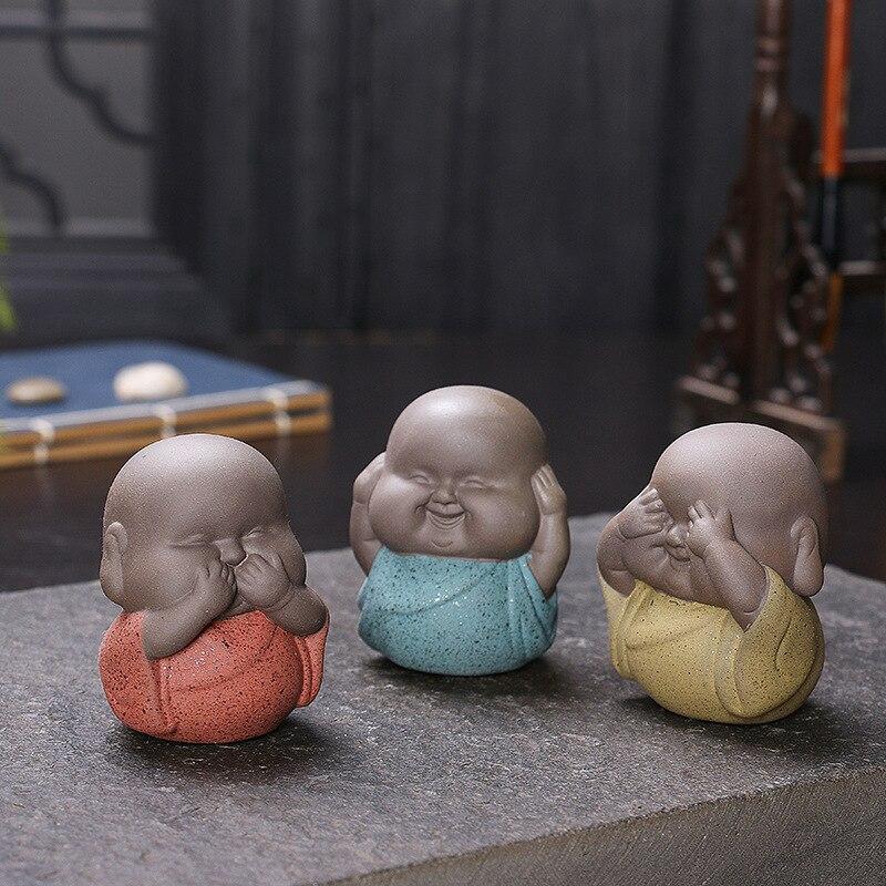 Mini Decorative Ceramic Buddha Statues Monks Furnishing Articles Noing Seeing No Hearing No Saying Ceramic Monks Sculpture Buda