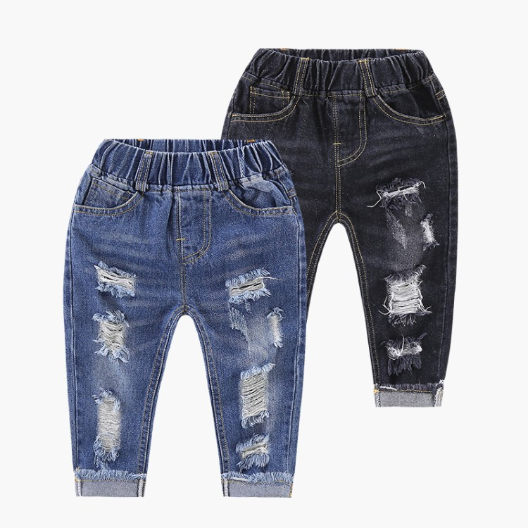 2018 Hot Sale Boys Jeans Children Clothing Spring Denim Pants For Boys 2-8T Hole Ripped Design Trousers Boys Clothes Kids Jeans ripped zipper fly denim jeans