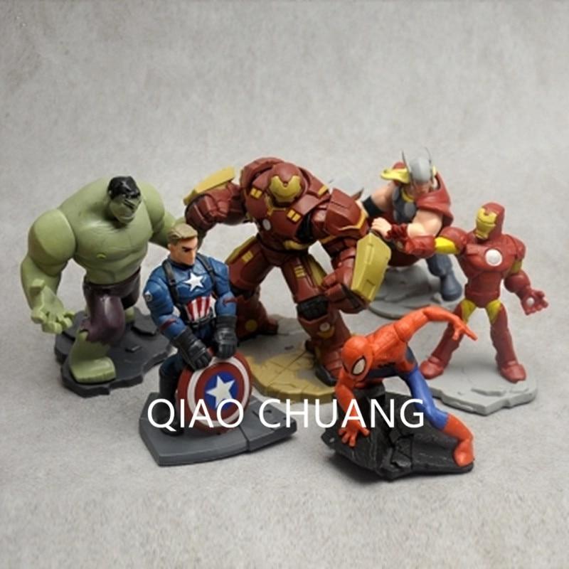 6pcs-set-font-b-avengers-b-font-infinity-war-superhero-captain-america-spider-man-iron-man-thor-hulk-pvc-action-figure-model-dolls-g548