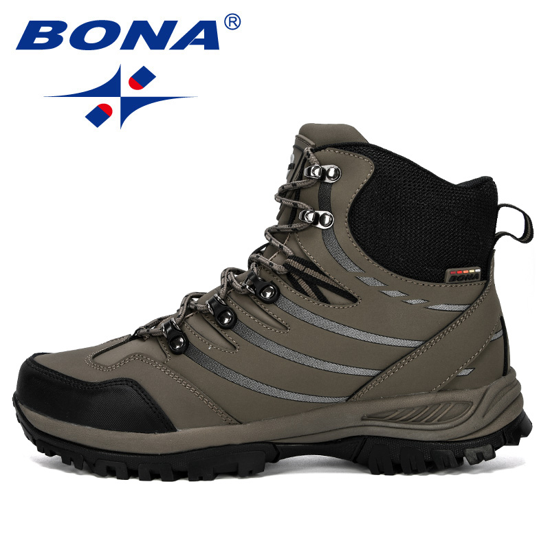 Image 4 - BONA 2019 New Designer Hiking Shoes Men Cow Split Plush Boots Man Mountain Climbing Shoes Outdoor Sport Shoes Trekking Sneakers-in Hiking Shoes from Sports & Entertainment