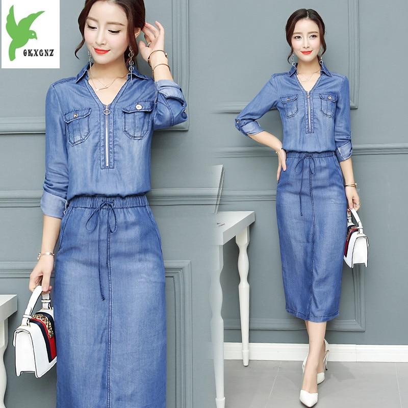 ae09b8d9d704b8 New Korean version woman's Tencel Jeans Dress V-neck Waist Lace Casual Slim Midi  Dress Elastic Waist Feminine Sexy Slender Dress