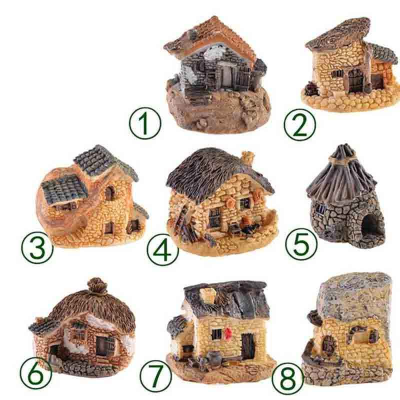 1Pc 9 Stijl Mini Kleine Cottages Huis Fairy Garden Miniaturen Diy Ornament Decoratie Ambachten Beeldjes Micro Landschap