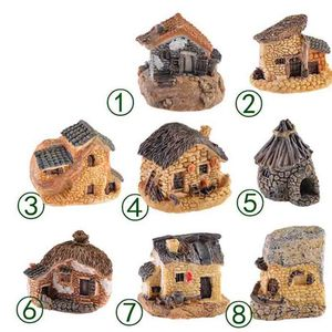 1Pc 9 Style Mini Small Cottages House Fairy Garden Miniatures DIY Ornament Decoration Crafts Figurines Micro Landscape(China)