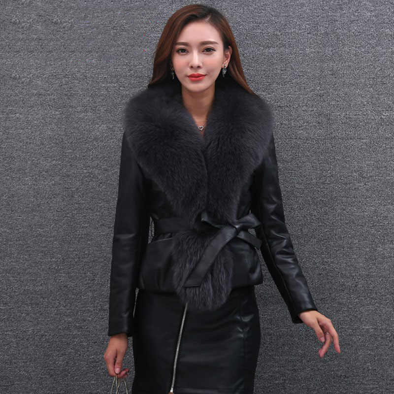 662dd037a9e Autumn Winter Women Bomber Faux Fox Fur Collar Stitching PU Jacket  Locomotive Coat With Belt Female