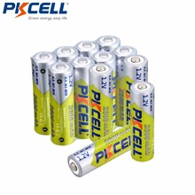 12 adet/grup Pkcell 2600mAh AA Ni Mh şarj edilebilir pil 1.2V NiMh aa piller 1000 döngüsü ile LED el feneri