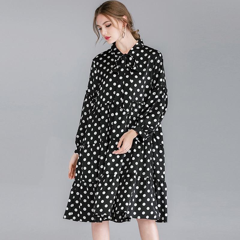 Chemise robes coton lin printemps 2019 femmes grande taille Dot imprimer pleine manches élégant partie décontracté lâche chemise robe 4XL Femme