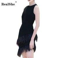 RealShe Feather Elegant Dress Women Sleeveless Vestido 2018 Summer Women Mini Dress Robe O Neck Fitness