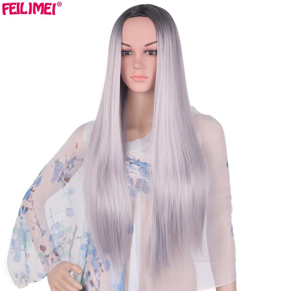 Feilimei Ombre Grey Wig Syntetisk Japansk Fiber 60cm 280g Lång - Syntetiskt hår - Foto 3