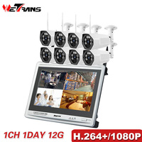 Video Surveillance System Kit CCTV Wifi 1080P 8CH H 264 One Piece Display NVR Full HD