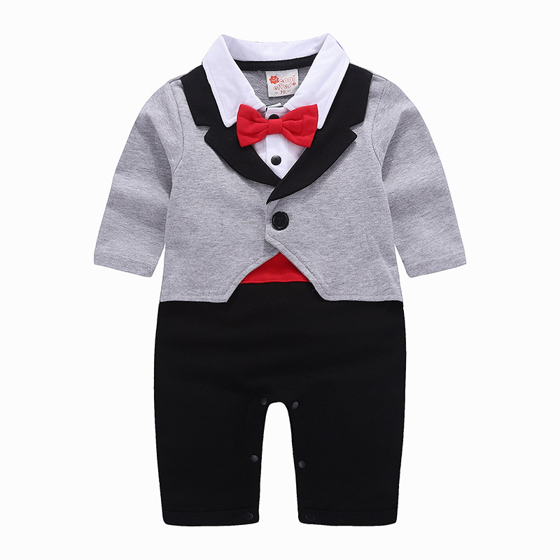 2018 Spring baby boys bow rompers fashion gentlmen climbing clothes party infant cotton long sleeve tuxedo jumpers 18M06