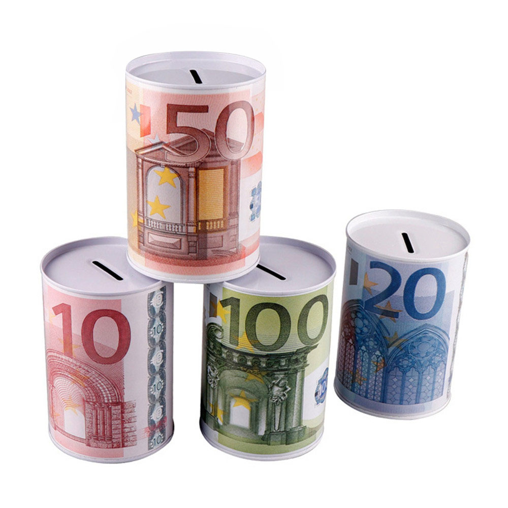 Euro Dollar Shaped Money Box Safe Cylinder Piggy Bank Coins Banks Deposit Storage Boxes For Children 10 20 50 100 10 Dollars