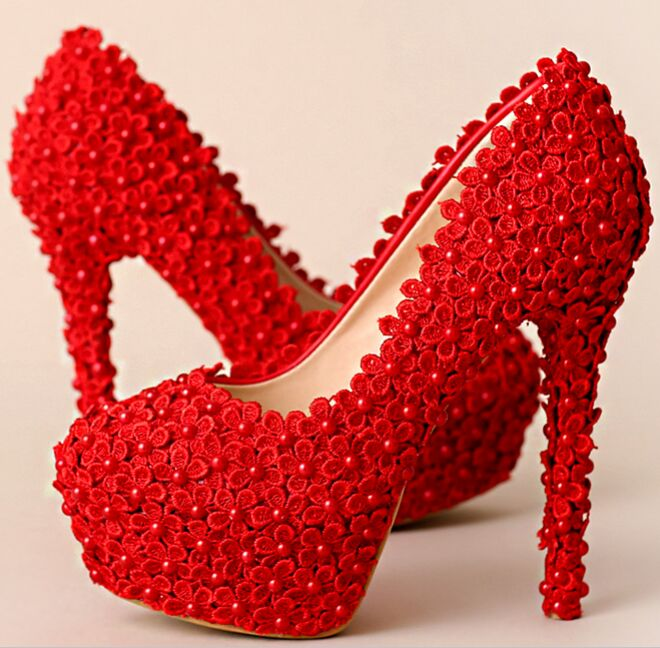 b9e0db67562 Elegant red lace wedding shoes red color lace pumps high heels round ...