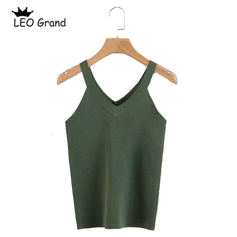 Leo Grand women summer V-neck Camise 6 colors slim knitted crop tops slim sexy basic bried tank camisole 90930