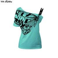 YH. JiuMu Phụ Nữ Vai Xiên Sexy Tee 2018 Màu Đen Bướm Mùa Hè Thường Ngắn Tay Áo Rời Màu Xanh Lá Cây Lớn T-Shirts Tops YH007