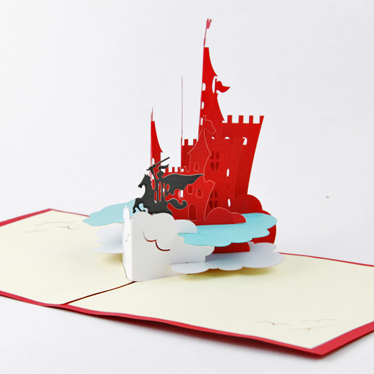 Knights of the castle card /3D  kirigami card/ handmade greeting cards gift for men  Free shipping two books and many style collection of paper 72pcs the celebration card party a necessary birthday cards free shipping