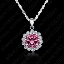 Fashion Woman Wedding Jewelry  925 Sterling Silver Chain Cubic Zirconia Necklace Pendants Crystal Lovely Necklaces Hotting