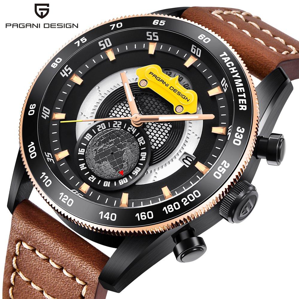 все цены на Top Brand Luxury PAGANI DESIGN Sport Watches for Men Leather Band Quartz Men's Watch Military Clock Date Relogio Masculino Saat
