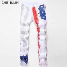 DANT BULUN 2017 Fashion Men Jeans Straight Brand Denim Long Pants Unique Man Print Mens Jeans Large Size 30-40