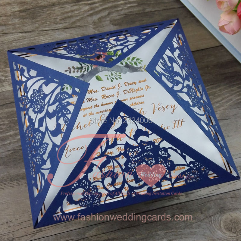 Cheap Online Wedding Invitations: Cheap Online Wholesale Navy Blue Personalised Laser Cut