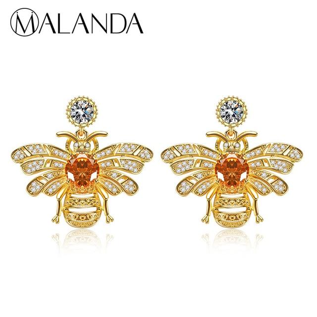 MALANDA Brand Lovely bee Zircon Stud Earrings For Women Crystal from  Swarovski Fashion Sterling sliver Earrings Wedding Jewelry 7926a8a850f9