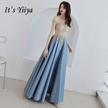 Its YiiYa Evening Dress Gold Lace Embroidery Sky Blue Fashion Party Gowns Boat Neck Floor length Long Formal Dresses  E052