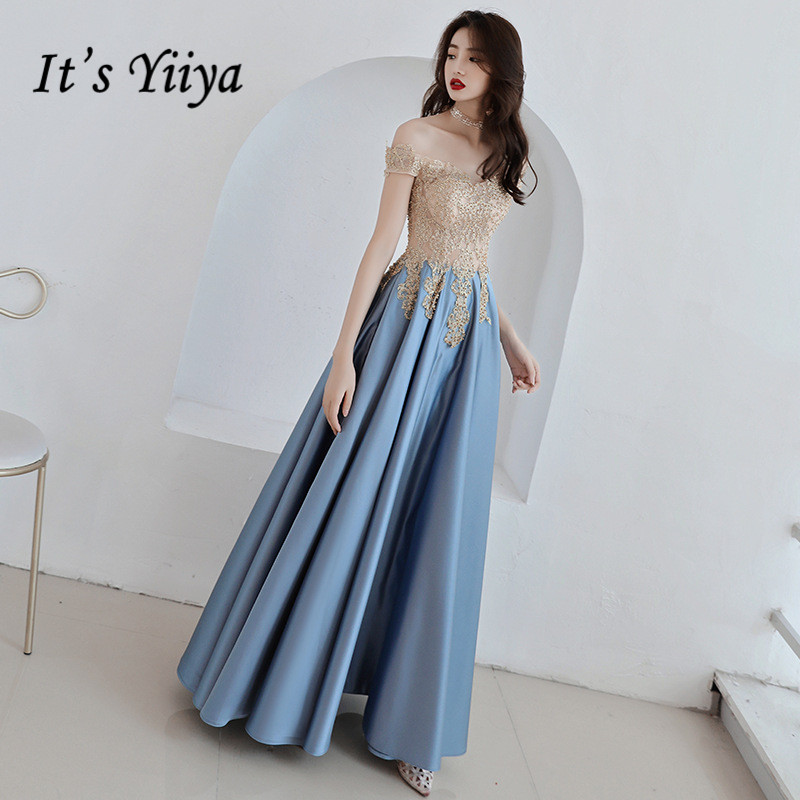 It's YiiYa   Evening     Dress   Gold Lace Embroidery Sky Blue Fashion Party Gowns Boat Neck Floor length Long Formal   Dresses   E052