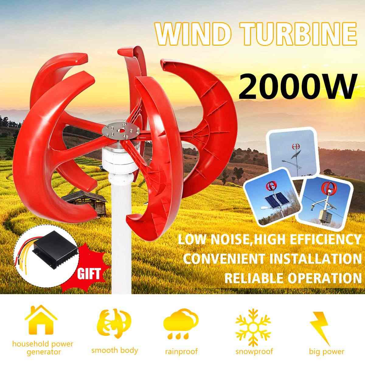 2000W AC 12V 24V Wind Turbines Generator Lantern Vertical Axi 5 Blades Motor Kit For Home Hybrids Streetlight Electromagnetic